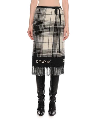 Check Wool-Blend Blanket Skirt