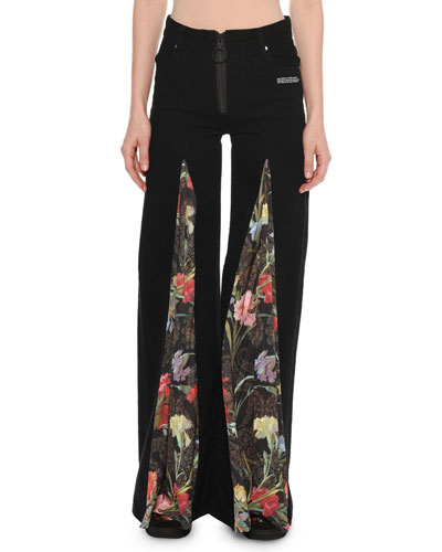 Zip-Front Wide-Leg Jeans with Floral-Print Inset