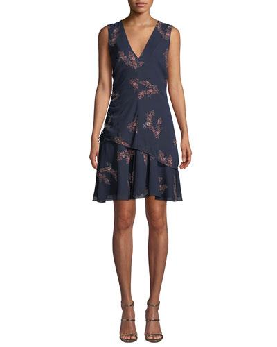 Ruched Check Flounce Mini Dress