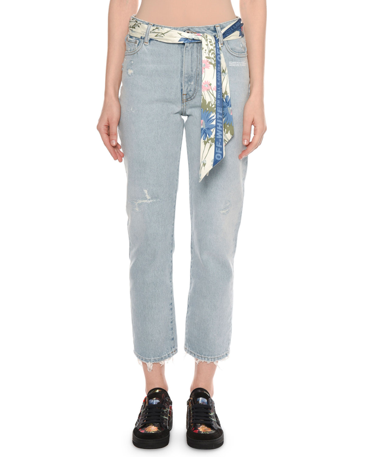 Straight-Leg Distressed Bleached Jeans with Floral-Print Scarf