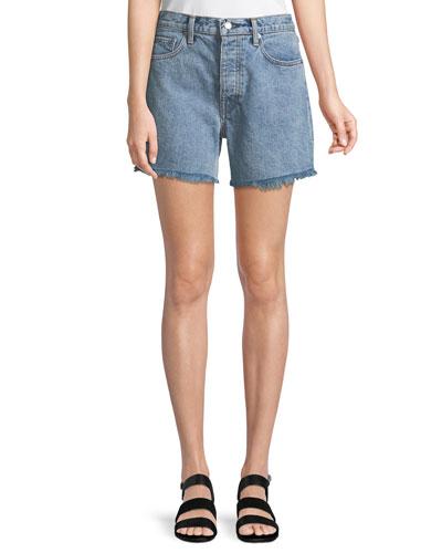 Boy-Fit Frayed Denim Cutoff Shorts