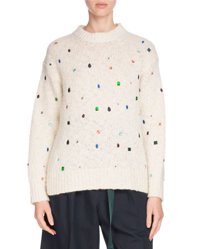 Comfort Embellished Mock-Neck Sweater