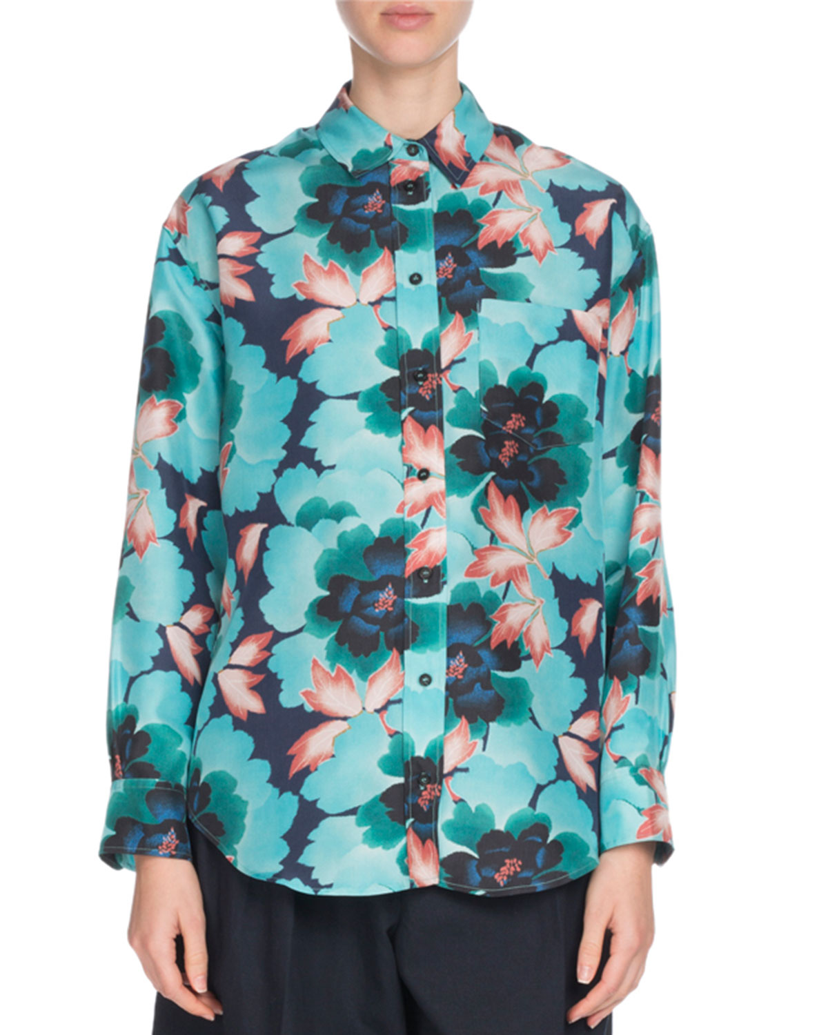Floral Silk Button-Front Pocket Shirt
