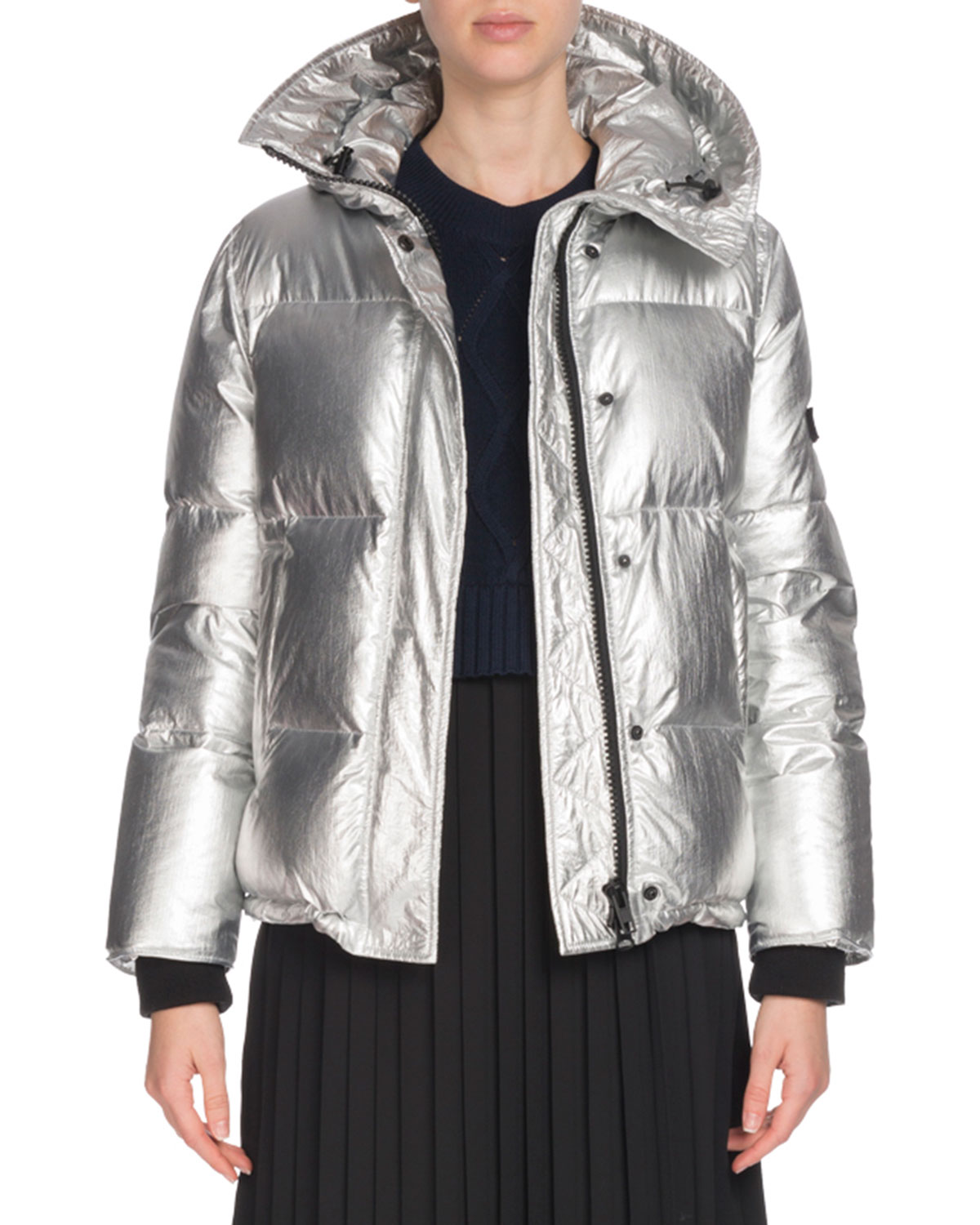Hooded Metallic Down Puffer Jacket
