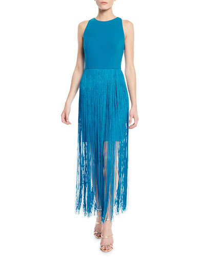 Sleeveless Open-Back Fringe Dress