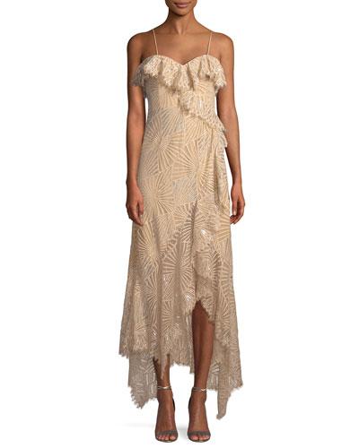 Metallic Sleeveless Ruffle Asymmetric Dress