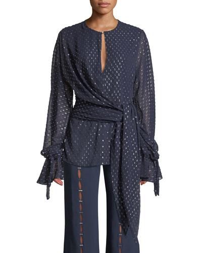 42a9d451ead64 Quick Look. Jonathan Simkhai · Sheer Metallic Long-Sleeve Wrap Top