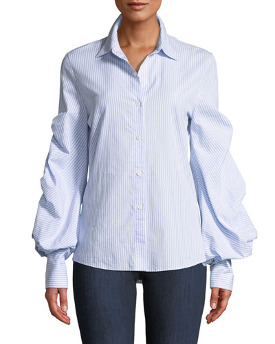 Cheap Supply Clearance Enjoy Button-Down Bow-Sleeve Striped Shirt Neiman Marcus Cheap Low Price Discounts Online Discount How Much o8zAerBsl