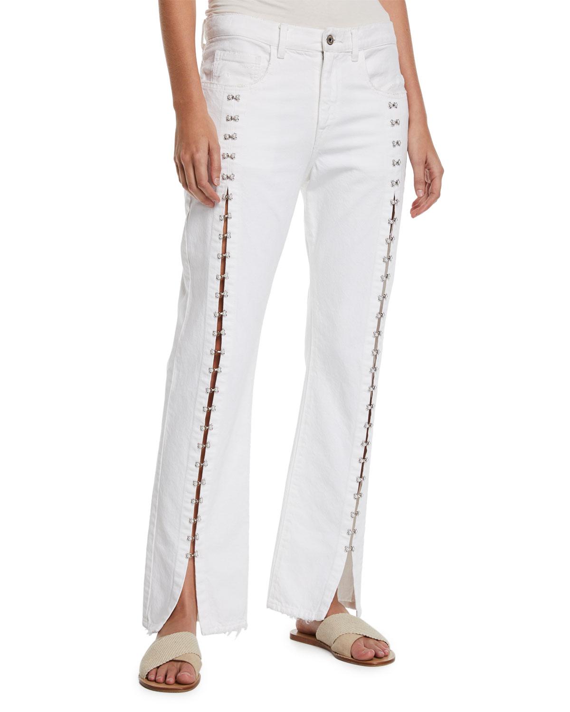 Jonathan Simkhai Jeans PEARL-STUDDED SPLIT STRAIGHT-LEG BOYFRIEND JEANS