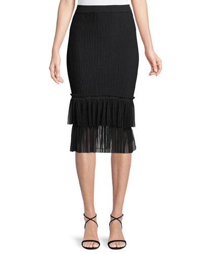 fe7b3c99dc Quick Look. Jonathan Simkhai · Ribbed Ottoman Tulle Pencil Midi Skirt