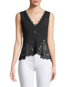 Sleeveless Diamond Applique Crepe Blouse