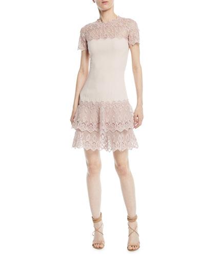 Diamond Crepe Applique Short-Sleeve Mini Dress