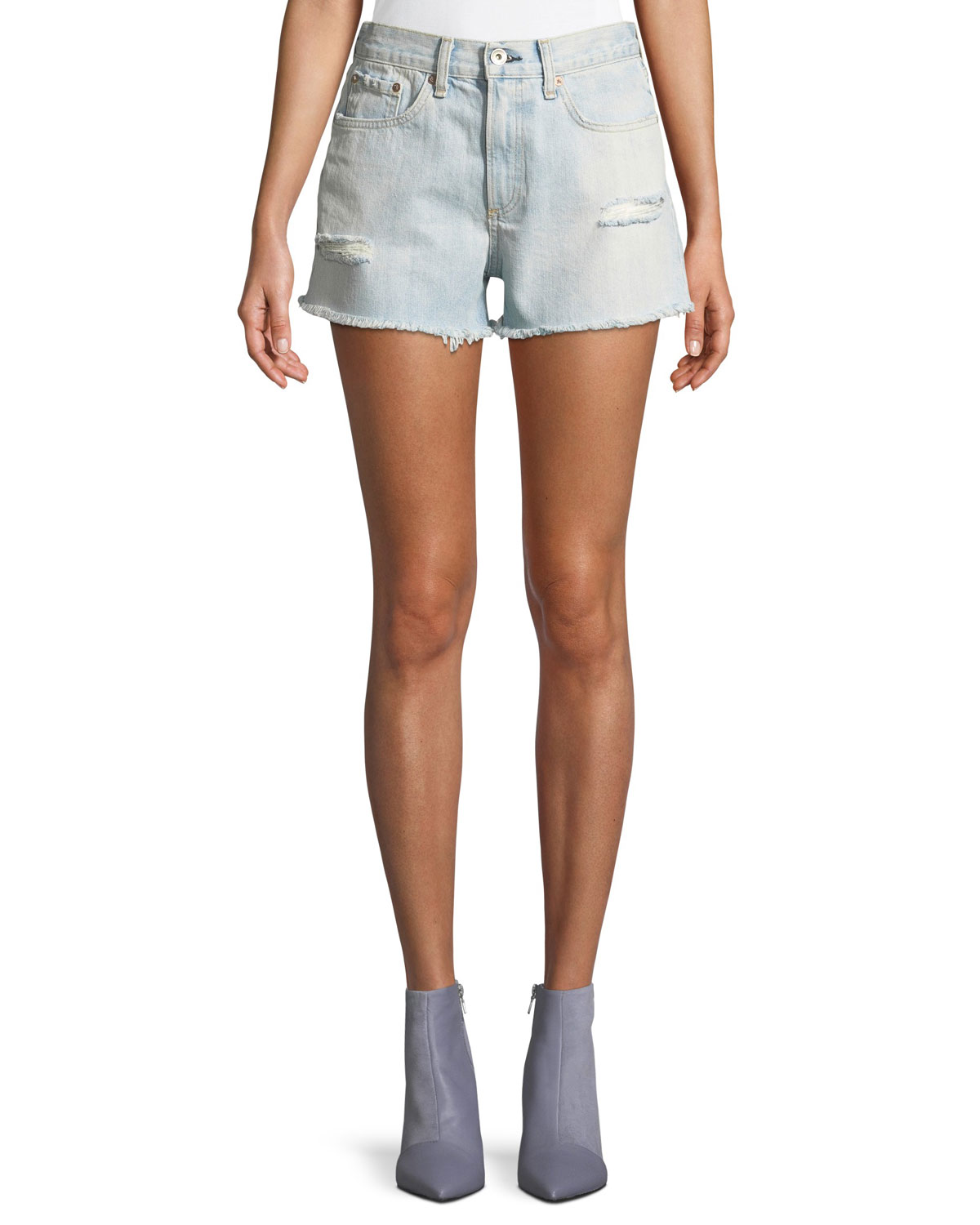 Justine High-Rise Frayed Denim Shorts