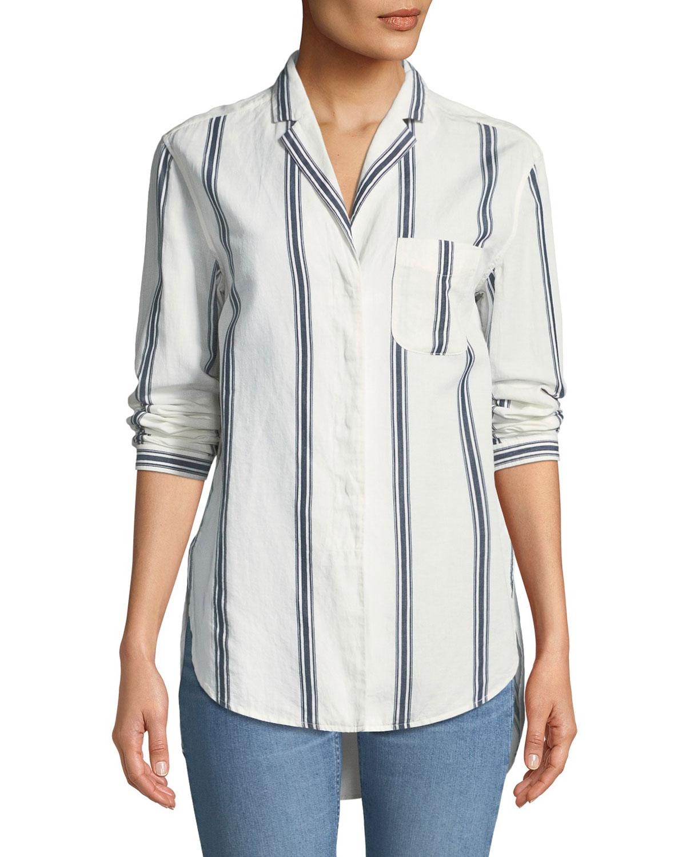 cdd2c6c6b1a81 Rag + Bone Alyse Button-Down Striped Cotton-Linen Shirt