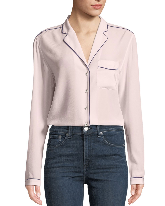 1207228cfcab2 Alyse Long-Sleeve Silk Button-Down Shirt
