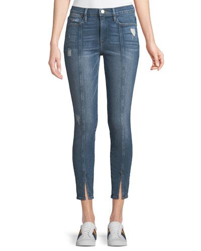 Le High Skinny Felt Split Distressed Cropped Jeans