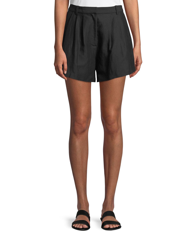 Oversized Pleated Linen-Blend Shorts