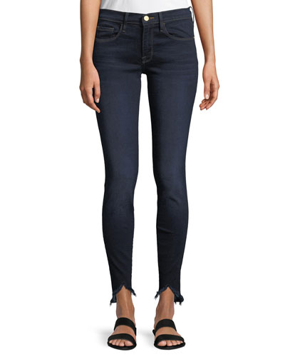 Sweetheart Dark-Wash Skinny Jeans w/ Raw-Edge Hem