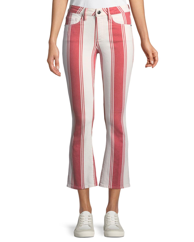 Mid-Rise Striped-Denim Cropped Mini Boot-Cut Jeans