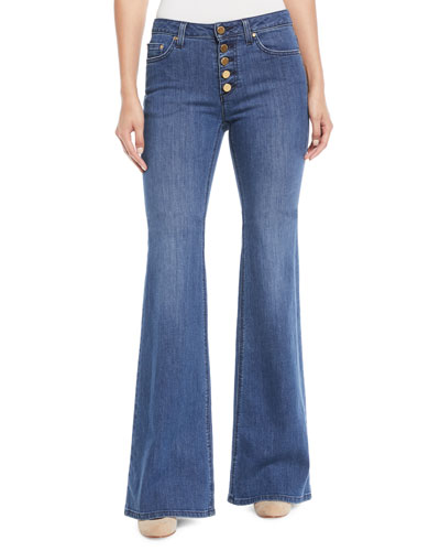 Selma Flare Button-Front Jeans