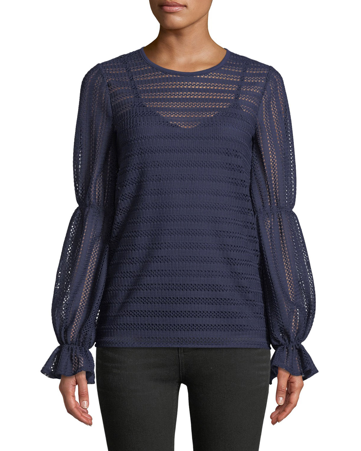 Cinched-Sleeve Crochet-Striped Top