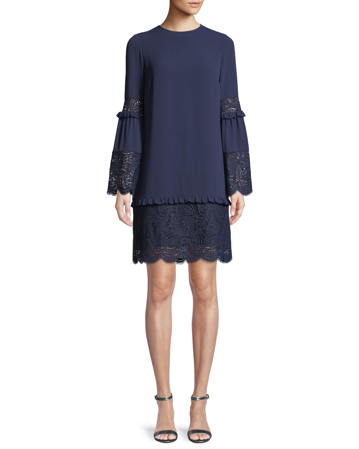 MICHAEL MICHAEL KORS BELL-SLEEVE DRESS WITH SCALLOPED LACE