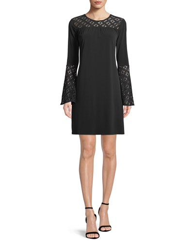 Lace-Inset Bell-Sleeve Dress