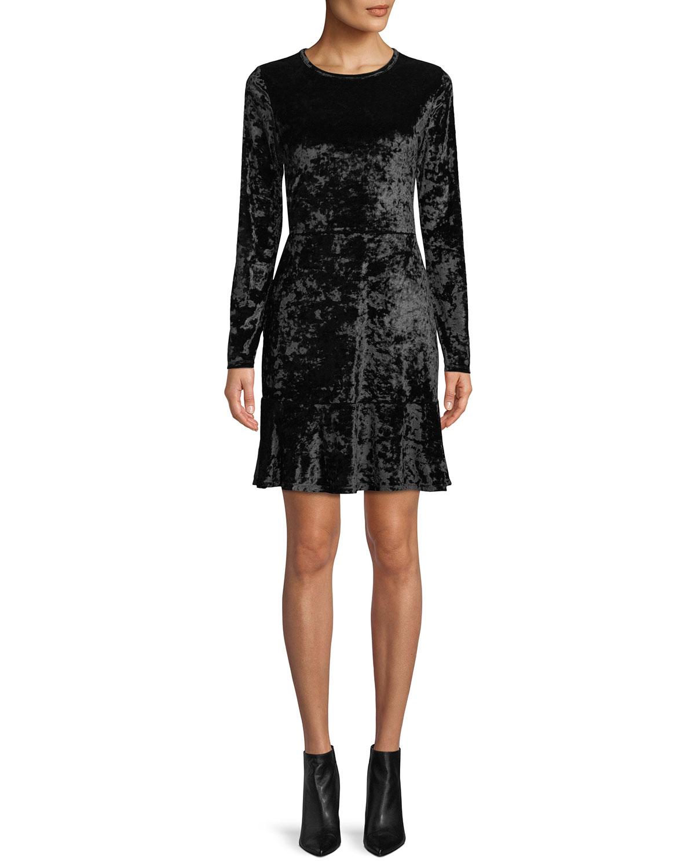 Long-Sleeve Velvet Dress