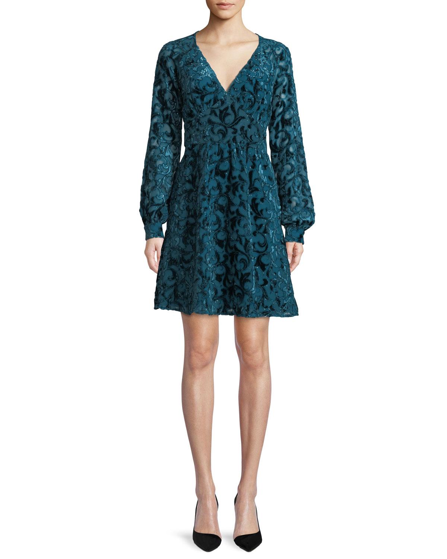 Raglan-Sleeve Mini Dress w/ Velvet