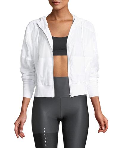 Aqua Woven Mesh Zip-Front Activewear Jacket