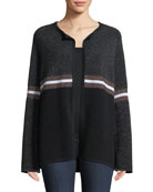 Neiman Marcus Cashmere Collection Cashmere & Metallic Ribbed