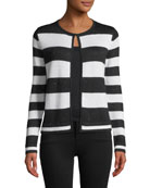 Neiman Marcus Cashmere Collection Sequin Striped Open-Front