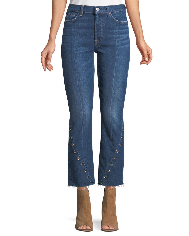 Edie Frayed Grommet-Trim Jeans