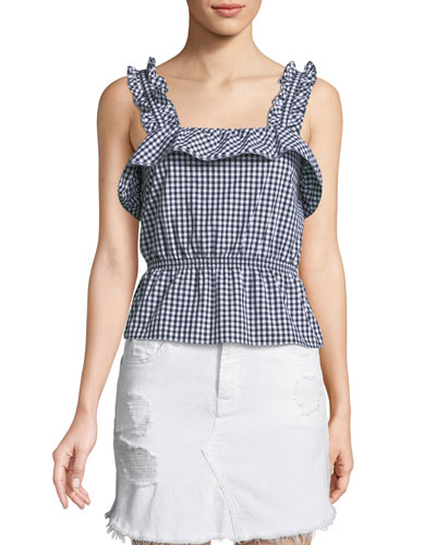 Ruffled Gingham Peplum Top
