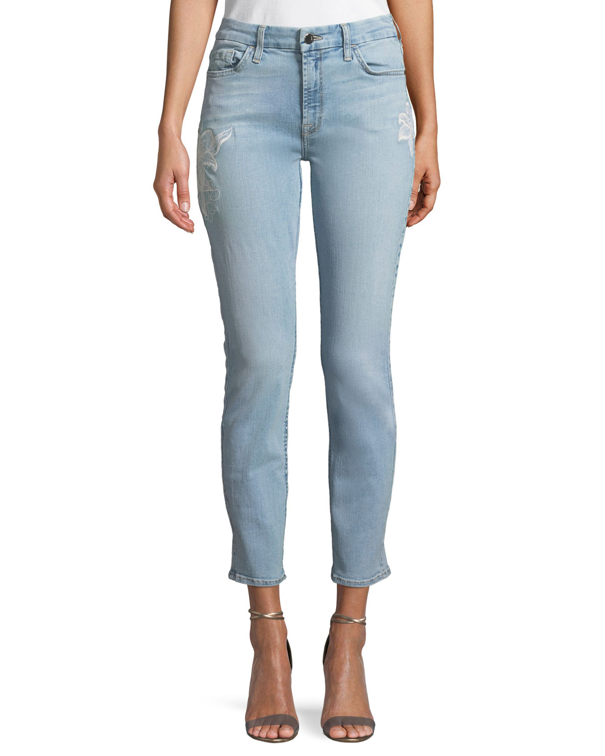 Havana Skinny Floral-Embroidered Ankle Jeans