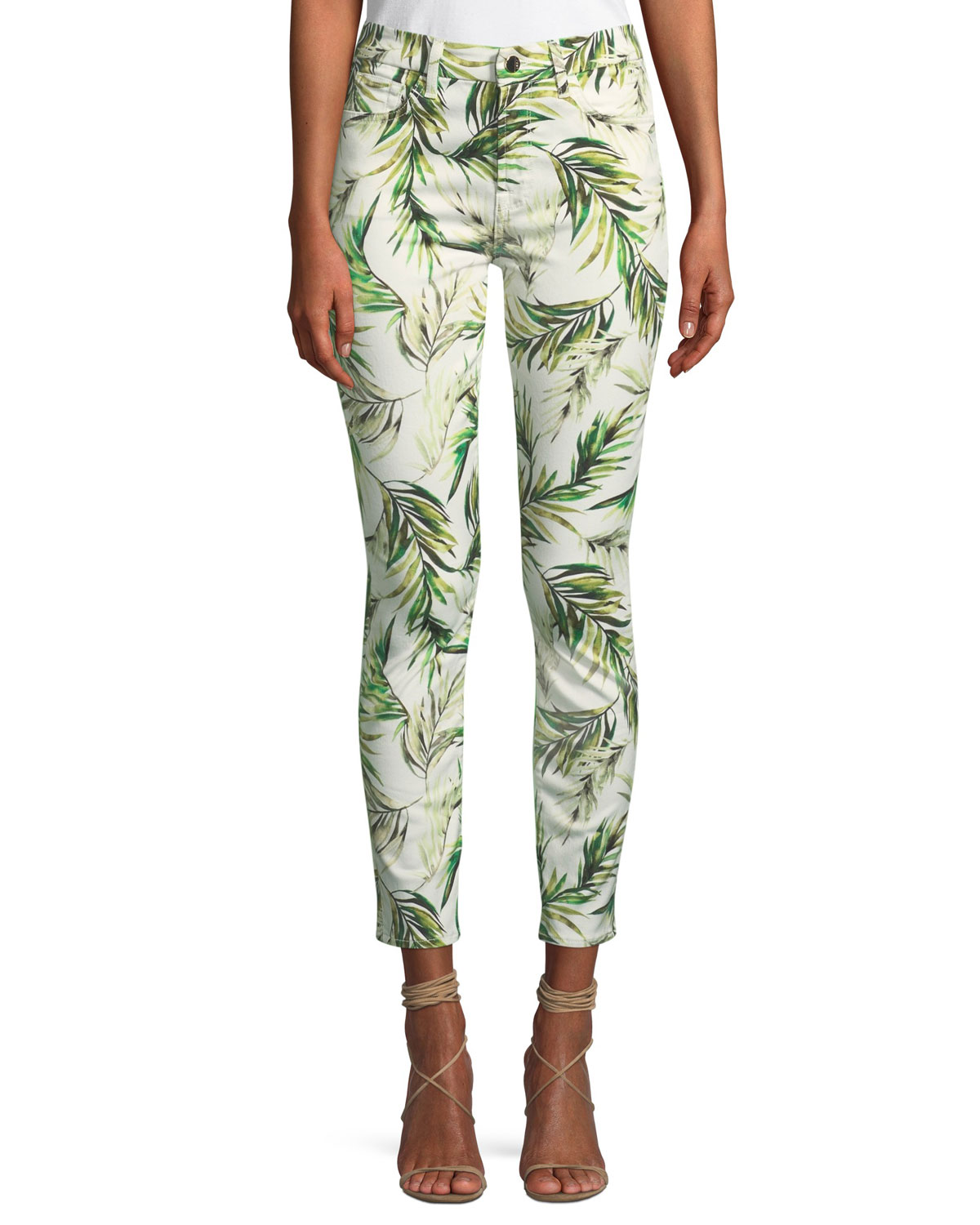 JEN7 BY 7 FOR ALL MANKIND ANKLE SKINNY PALM FRONDS JEANS