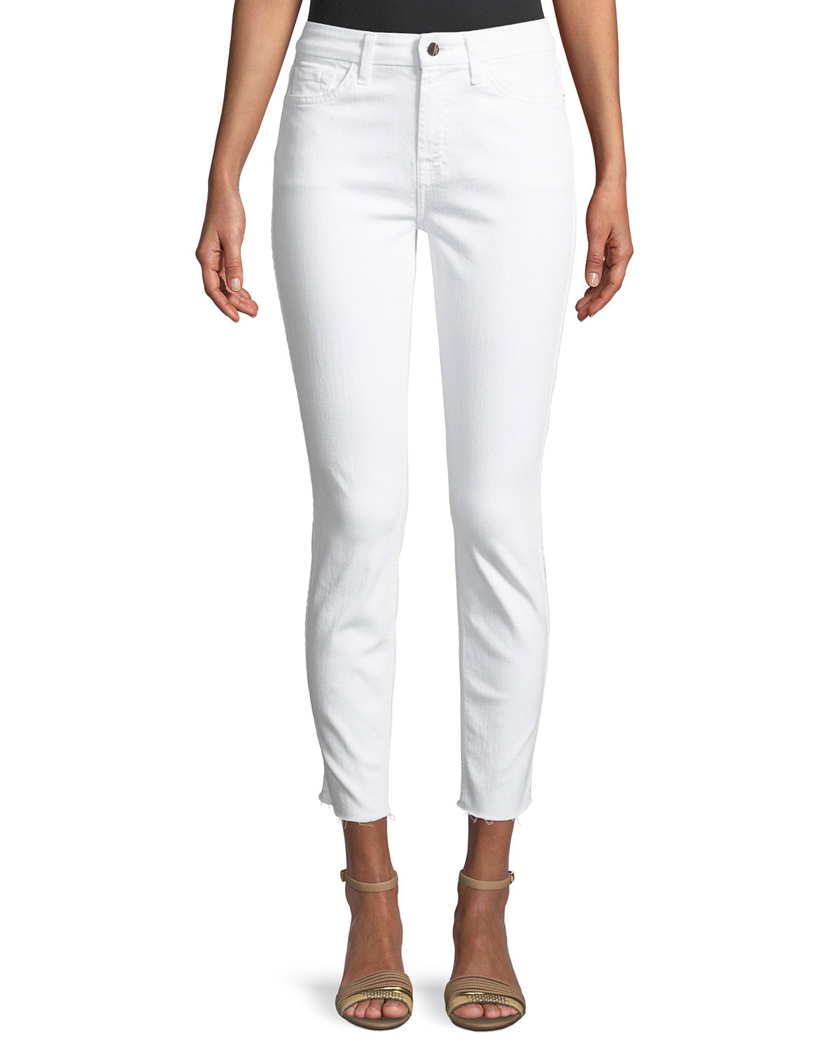 Ankle Skinny Jeans w/ Rose Golden Back Zippers