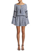 Lanelle Printed Long-Sleeve Mini Dress