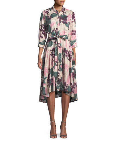 Dacio Button-Front Floral High-Low Dress