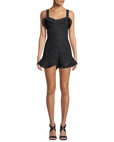 Star Embroidered Sleeveless Flounce Romper