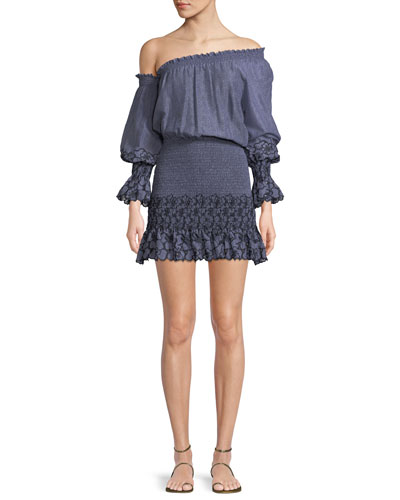 Royce One-Shoulder Embroidered Mini Dress