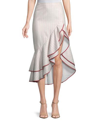 048bcee788 Quick Look. Alexis · Garnet Striped Ruffle High-Low Skirt