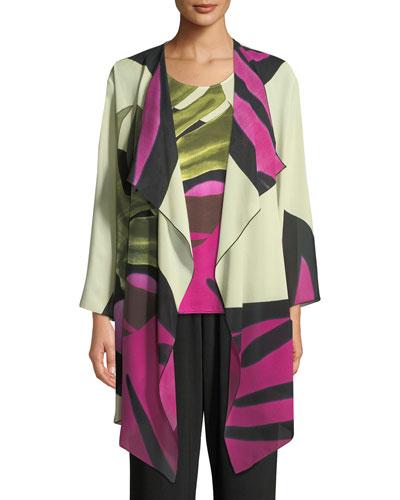 Palm Leaf Georgette Long Jacket, Plus Size