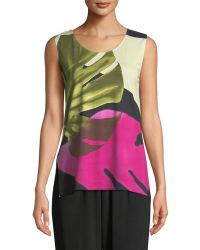 Palm Leaf Sleeveless Tank, Petite