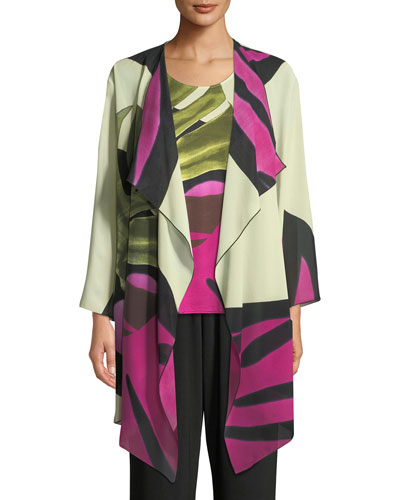 Palm Leaf Georgette Long Jacket