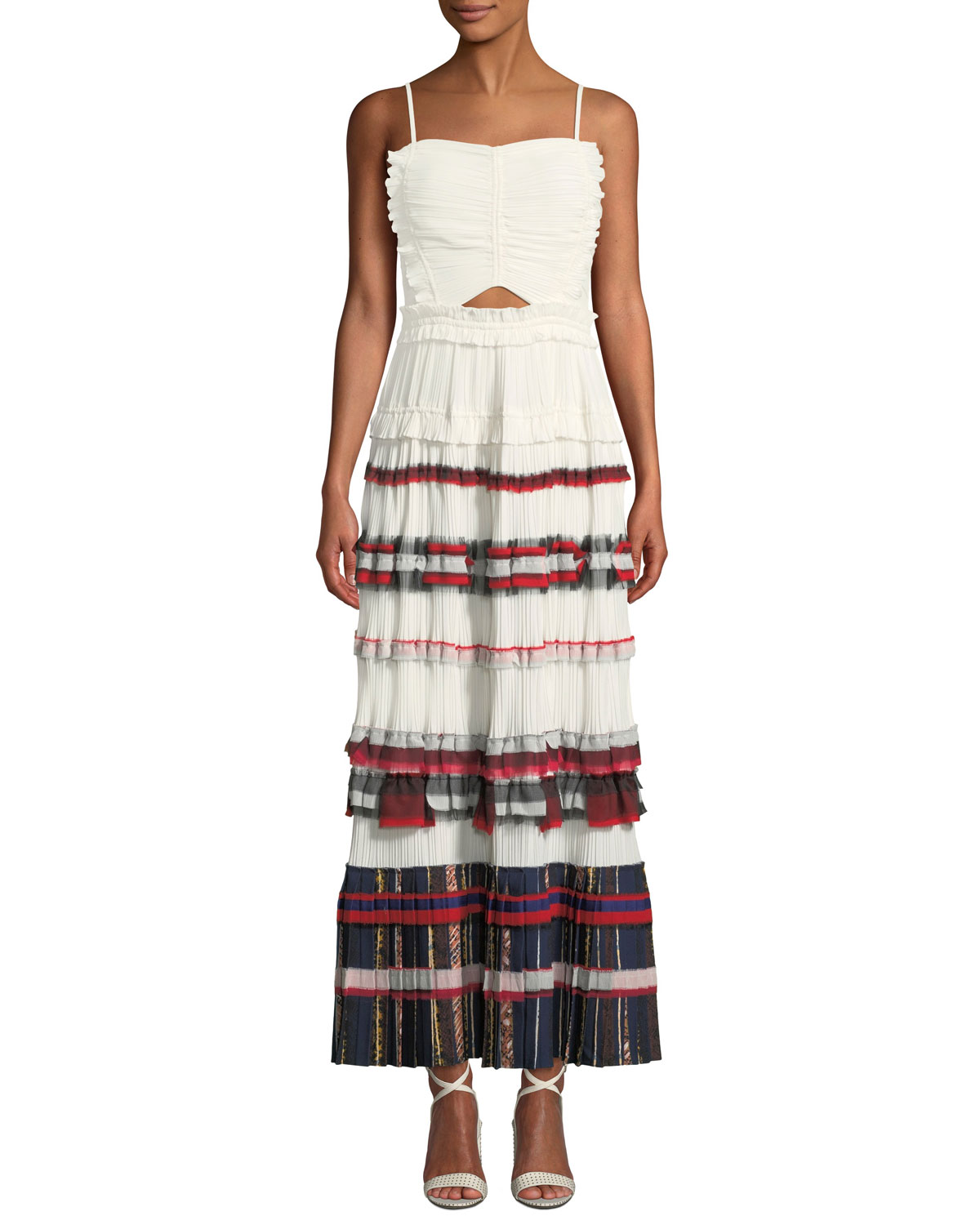 Pleated Ruffle Cami Maxi Dress Gown