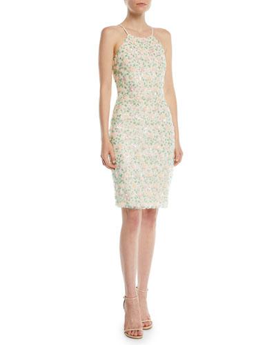 Floral Sequin Halter Cocktail Dress