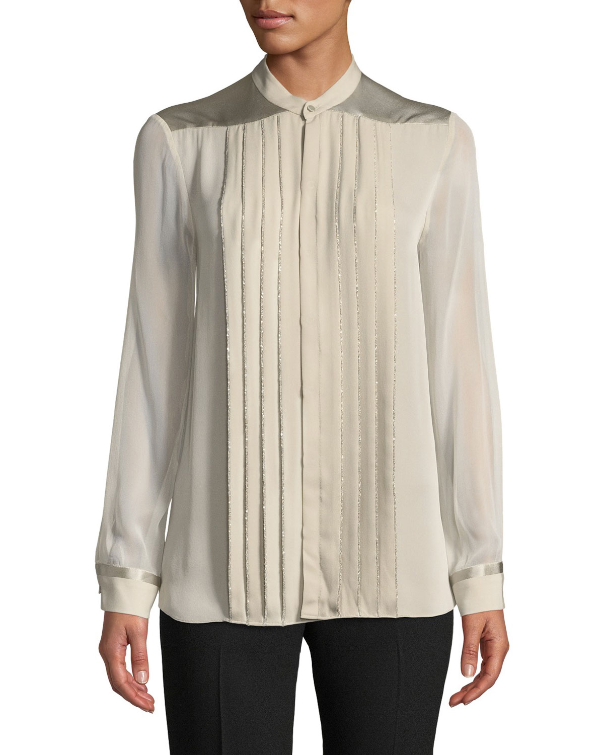 Gilberta Small Chain Pleated Button-Front Silk Blouse in Canvas