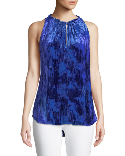 Bessie Sleeveless Devore Velvet Blouse