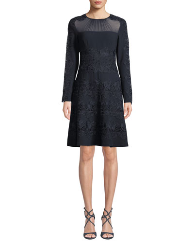 Cora Shirred Jewel-Neck Long-Sleeve A-Line Crepe Dress w/ Floral-Guipure